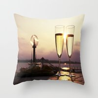 champagne Throw Pillows featuring Champagne Date by Brown Eyed Lady