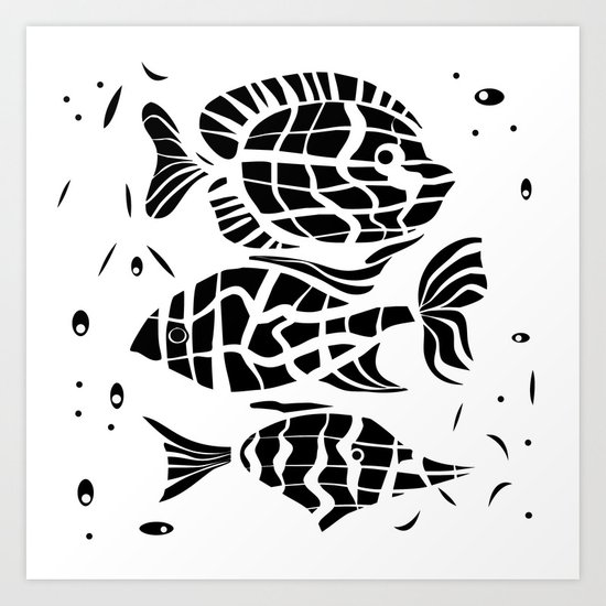 Black and white illustration . Fish . Art Print