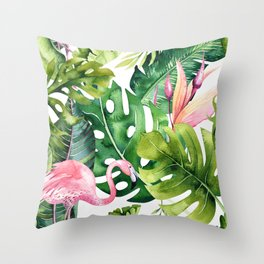 Tropical & flamingo collection Throw Pillow