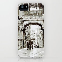 Carrer del Bisbe - Barcelona Black and White iPhone Case