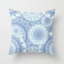 Delicate Ice Blue Mandala Pattern Throw Pillow