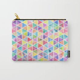 Modern bright multicolor watercolor triangles geometric pattern Carry-All Pouch