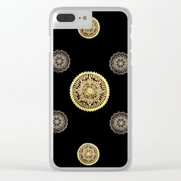 Gold and Rose Gold Mandalas on Black Background Textile Clear iPhone Case