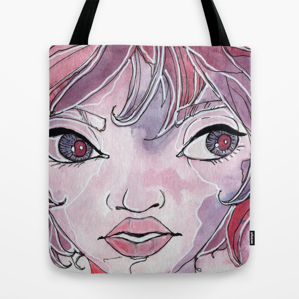 Pynk - Watercolor Girl Portrait Tote Purse by Amberhartin (TBG10180471) photo