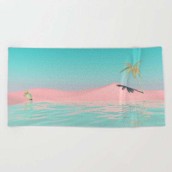 Palm Tree Oasis Beach Towel
