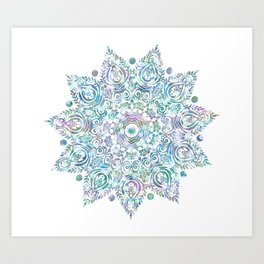 Mermaid Dreams Mandala on White Art Print