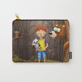 Little boy with the animals in the wood Carry-All Pouch