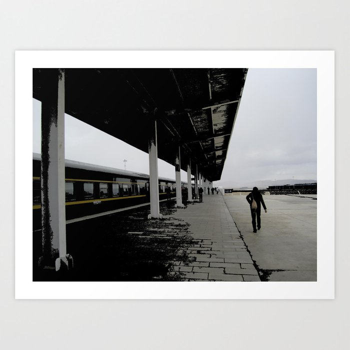 A Man In The Train Station Art Print