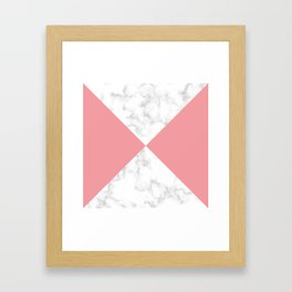 diagonal tiles marble coral pattern Framed Art Print