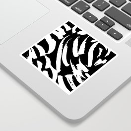 Black and White Brush Strokes Sticker