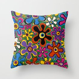 Floral Spin by Nettwork2Design - nettie heron-middleton Throw Pillow