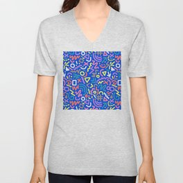 Let's Party! Contemporary Playful Pattern in EVERY Color Unisex V-Neck