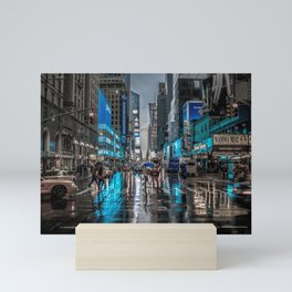 Fantastic Populated Urban City Boulevard High Definition Blue Saturation Mini Art Print