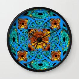 AWESOME BLUE & GOLD SUNFLOWERS  PATTERN ART Wall Clock
