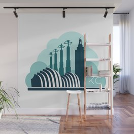 Kansas City in the Clouds - Blue Wall Mural