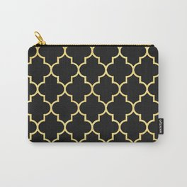 Black Gold Quattrefoil Carry-All Pouch