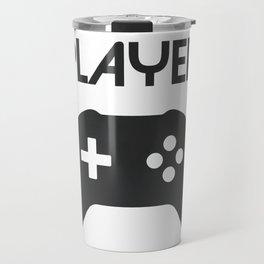 Player Text and Gamepad Travel Mug