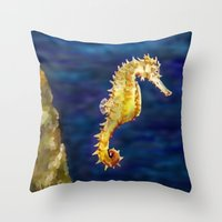 sea horse Throw Pillows featuring Sea horse by Michelle Behar