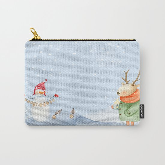 Merry christmas- Snowman Deer and birds are having Winter fun Carry-All Pouch