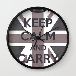 Keep Calm and Carry On UK - Purple/Grey Wall Clock