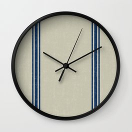 Blue Stripes on Linen color background French Grainsack Distressed Country Farmhouse Wall Clock