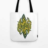 starcraft Tote Bags featuring Angel 3K ambigram by LoneLeon