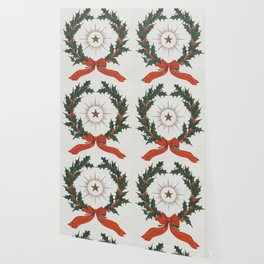 Vintage Christmas Greetings Wreath (1906) Wallpaper