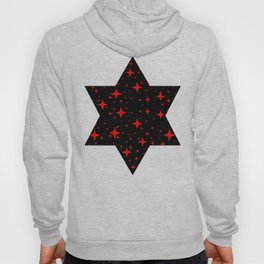 Bright Red Stars in Space , Cristmas Stars Hoody