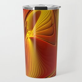 Golden and Red, Abstract Fractal Art Travel Mug
