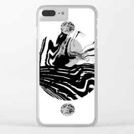 Marble spilled ink suminagashi minimal black and white dorm college outer space marbling Clear iPhone Case