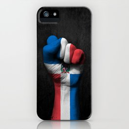 Dominican Flag on a Raised Clenched Fist iPhone Case