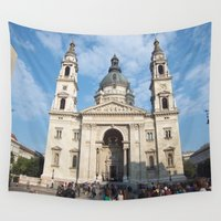 budapest Wall Tapestries featuring Cathedral in Budapest by Stefanie Sharp