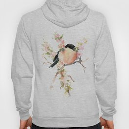 Bullfinch and Spring, Peach colored Floral bird art, spring soft colors Hoody