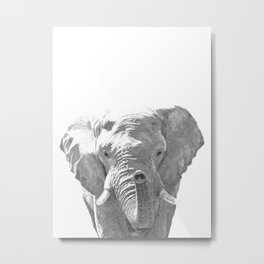 Black and white elephant illustration Metal Print