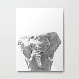 Black and white elephant illustration Metal Print