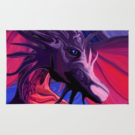 Jewel Toned Dragon of the Amethyst and Ruby Caverns Rug