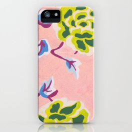 Japanese Flowers On Pink Background iPhone Case