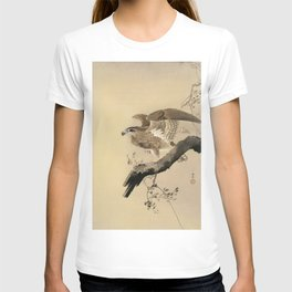 Hawk on the tree branch - Japanese vintage woodblock print T-shirt