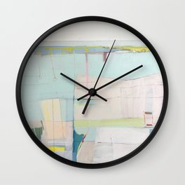"""""""over flow"""" abstract painting in robin's egg, mint, blush, white, and yellow Wall Clock"""