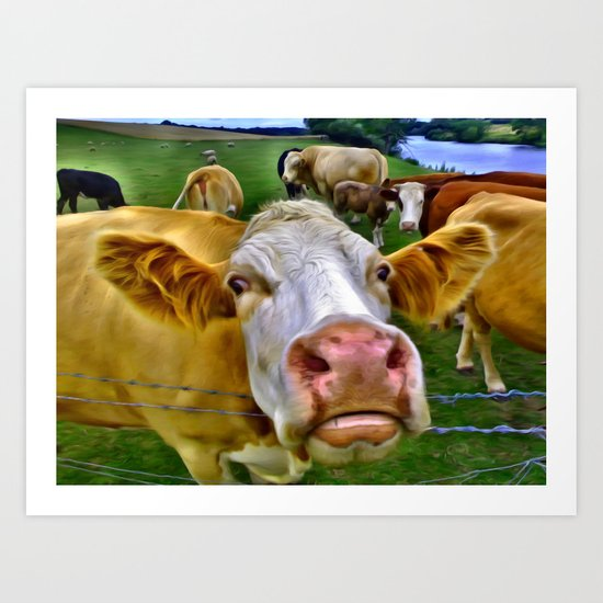 There's one in every crowd . . . Cow Photobomber Art Print