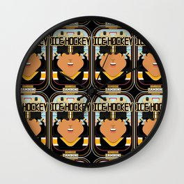 Ice Hockey Black and Yellow - Boardie Zamboni - Indie version. Wall Clock