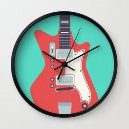 Retro 60s Guitar - Aqua Wall Clock