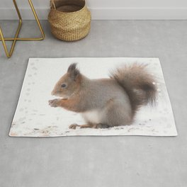 Squirrel And Lunch Pause Winter Scene #decor #society6 #buyart Rug
