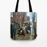 jewish Tote Bags featuring Rainy Day, Washington, D.C. by Brown Eyed Lady