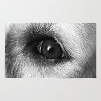 golden retriever Area & Throw Rugs featuring Golden retriever eye by Isabelle Savard-Filteau