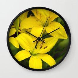 Yellow Lilies Wall Clock