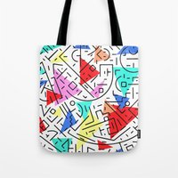 90s Tote Bags featuring 90s pattern by molly ennis