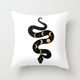 Moon Phases Constellation Snake Throw Pillow