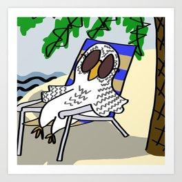 Beach Owl Art Print