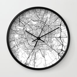 Milan Map White Wall Clock